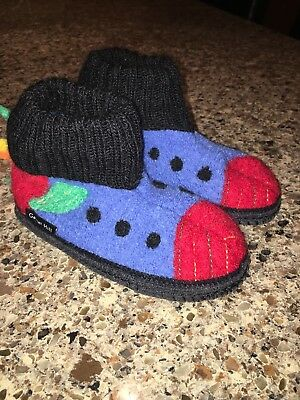 Youth Garnet Hill Wool Slippers Size 10 Blue Red Black Boys