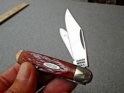 Vintage Robeson Shuredge Pocket Knife USA Red Bone Jack #622636