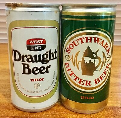 West End. Draught. & Southwark Bitter. 13FL.OZ. Alloy Beer Cans. x 2