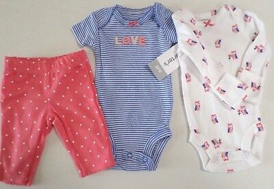 Carter's Baby Girl Owl/Stripes/Love 3Pc Set 2-Bodysuits/Pants Pink/Blue Preemie