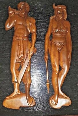 Pair of Vintage Mid Century Tiki  Carved Man and a Woman WOODEN WALL Art