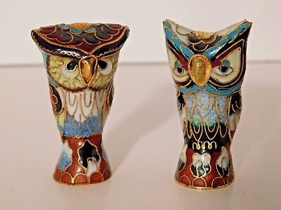 Vintage Pair of Chinese Cloisonne Multi-Color Owls China