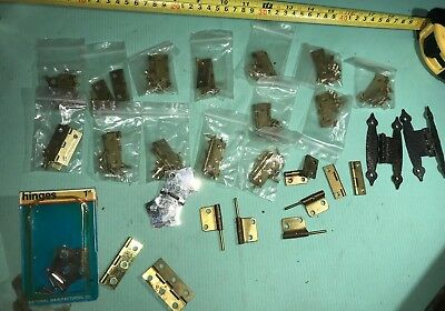 Large Lot  + Vintage Small Hinges Many Pairs Brass-Steel,Great for Crafts rare
