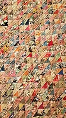 Antique Quilt Multi Colored Hand Stitched