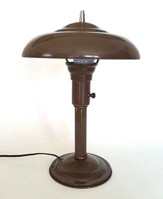 Vtg 1930s-40s Art Deco Desk Lamp Saucer UFO Machine Age Mushroom Industrial