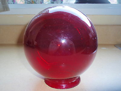 Art Deco Ruby Rubis  Glass Ball Shade Globe For Lamp Or Door Exit