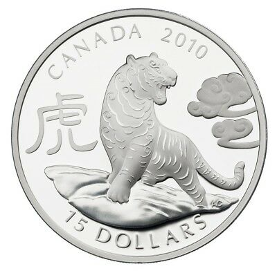 2010 Canada $15 Dollars Fine Silver Coin - Year of the Tiger - 1 Silver Ounce