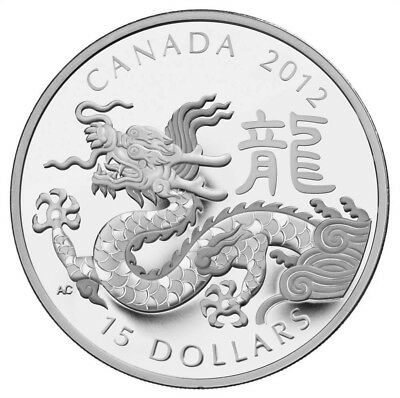 2012 Canada $15 Dollars Fine Silver Coin - Year of the Dragon - 1 Silver Ounce