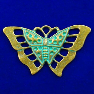 Carved Brass Bronze Butterfly Pendant Bead 56x32x3mm L90163