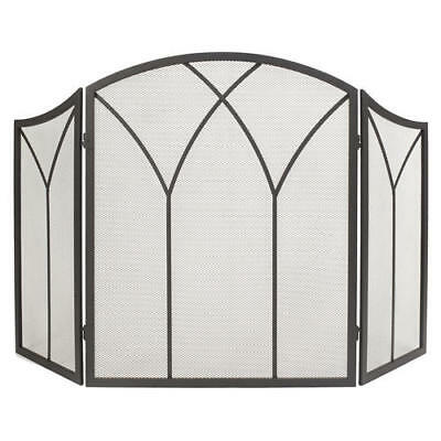 Crest Tri Fold Fireplace Screen With Steel Frame Copper 12995