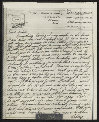 1945 US V-Mail 306 Troop Carrier Sqdn, 442 TCG (Grantham, England), APO 133, NY