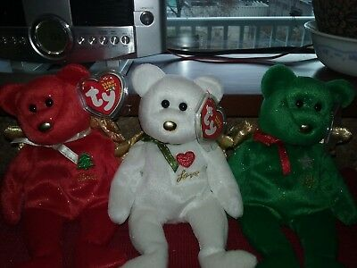 "Ty Beanie Babies (Set Of 3) "" Gift "" Bears{ Red,white & Green]Hallmark Exclusive"