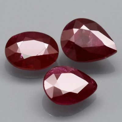 3pcs Lot 1.94ct t.w Oval & Pear Natural Top Red Ruby *Only Heated No Glass