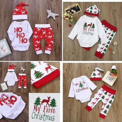 3Pcs Christmas Newborn Baby Boy Girl Romper Tops+Pants+Hat Outfits Set Bodysuits