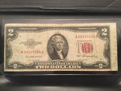 1953 $2 Dollar Bill Old Us Note Legal Tender Paper Money  Red Seal (#43)