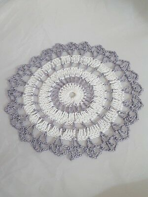 White Silver Coin Bumblebee doily Approximately 5 Inches.