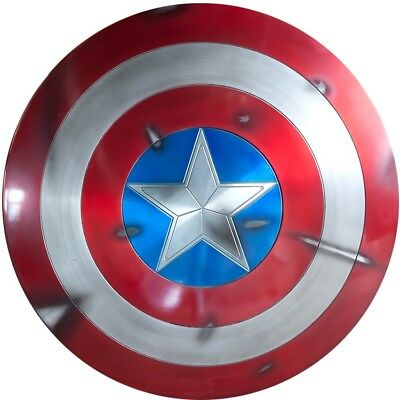 Captain America Shield 1:1 Full Aluminum Metal BATTLE DAMAGE Cosplay props