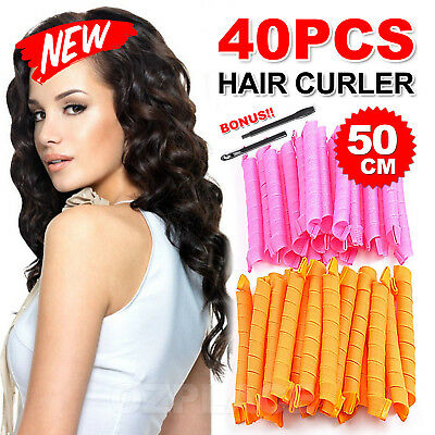 40PCS 50cm DIY Magic Hair Curler Leverage Curlers Formers Spiral Styling Rollers