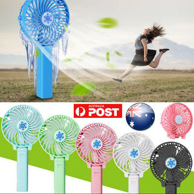 2in1 Hand Held Portable Fan Mini Desk Handy USB Rechargeable Air Conditioner AU