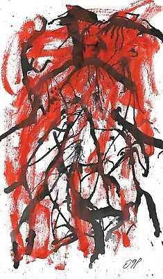 Original contemporary Abstract Ink Painting On Hard Paper Signed. Embossed Stamp