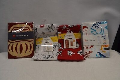 Lot of 4 - Tenugui Japanese Cotton Cloth Fabric by Kenema Japan Sumo Fish  b6