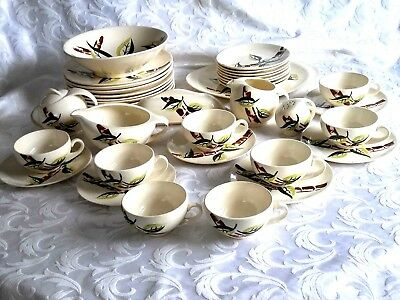 Vtg 37-Pc Blue Ridge Southern Potteries Hand Painted Underglaze Dinner Set Usa
