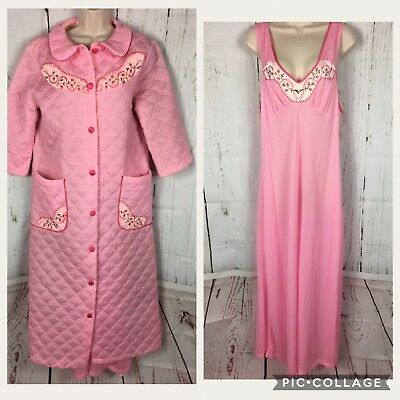 Mrs. Maisel Vtg. Pink Quilted House Coat & Nightgown Embroidered Floral  L