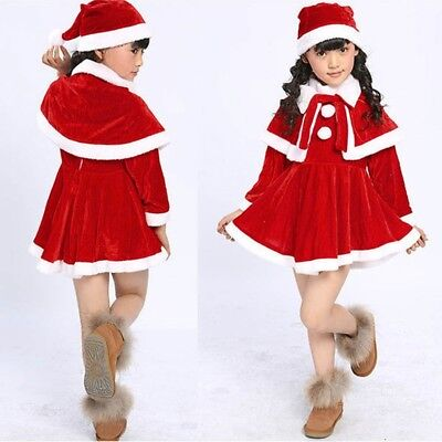 Bowknot Kids Baby Girls Christmas Wool Costume Party Dresses+Shawl+Hat Outfi