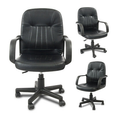 Home Office Chair PU Leather Adjustable Swivel Executive Computer Desk Black