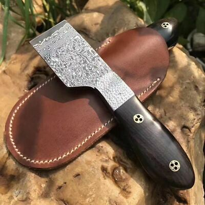 Damascus Blade Knife cutting Leathercraft Skiver cutter tool ebony handle AU