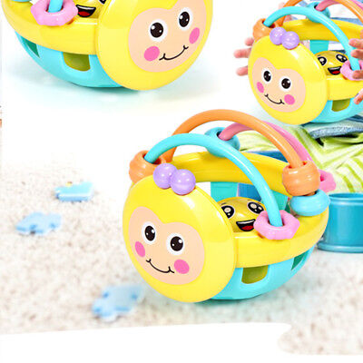 Baby Soft Rubber Cartoon Bee Hand Bell Rattle Toy Infant Early Educational Toy