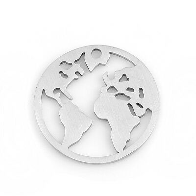3 PCs High Quality Stainless Steel Charms/ Pendants Round Silver Tone World Map