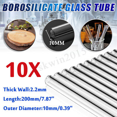 10Pcs 200mm OD 10mm 2.2mm Thick Wall Tubing Borosilicate Glass Blowing Tube Lab
