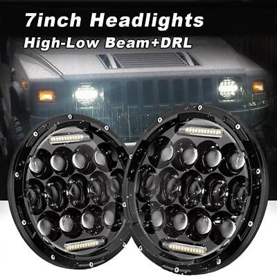 2Pcs 7inch CREE High-Low Beam Round 4x4 DRL Headlight LED Driving Light For Jeep