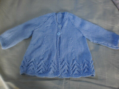 New Hand Knitted Blue Baby Jacket Newborn/reborn