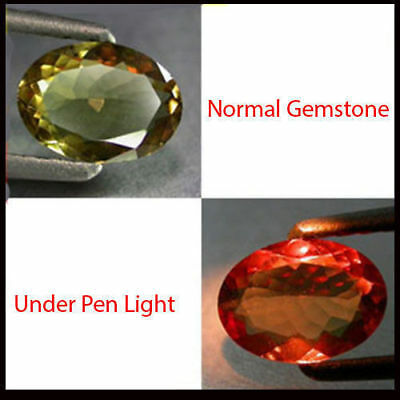 0.83Ct INCREDIBLE Gem - BEST Natural Olive Yellow 2 Red Color CHANGE GARNET CC08