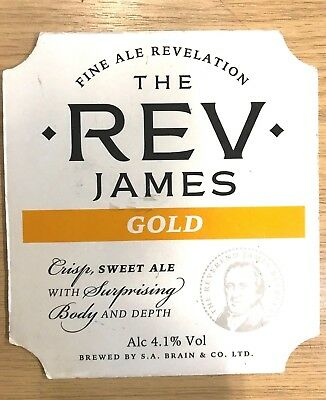 Reverend The Rev James Gold Fine Ale Beer Pump Clip Brains Brewery Cardiff