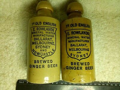 Vintage Ginger Beer Bottle X2 E. Rowlands Stoneware Ceramic Antique Collectible