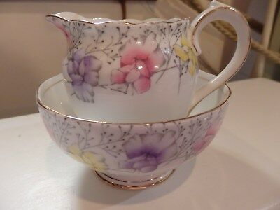 Roslyn English 'Sweet Pea' China sugar bowl and milk jug set