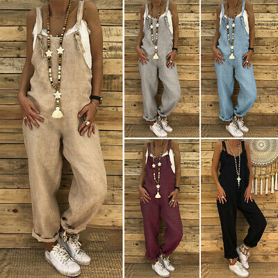 Women Plus Size Jumpuit Playsuit Dungarees Trousers Retro Long Wide Leg Overalls