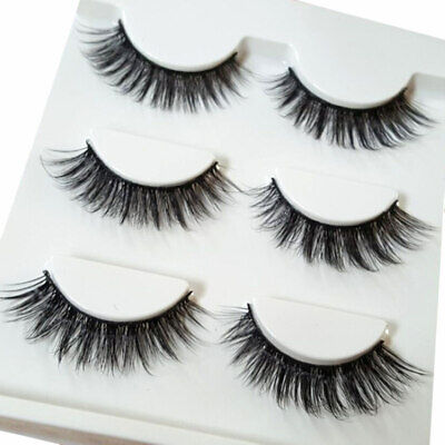 3 Pairs Make Up 3D Natural Soft Handmade Thick Long Cross False Fake Eyelashes