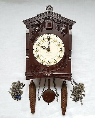 Vintage Russian Bakelite Cuckoo Clock Cccp Weight Driven Movement Good Condition