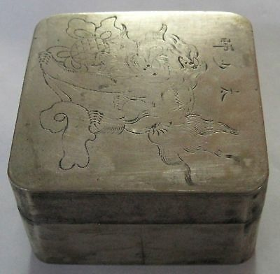 Antique Inkwell Asian Japanese Box Marked KYOTO Fu Dog White Metal 19th Century