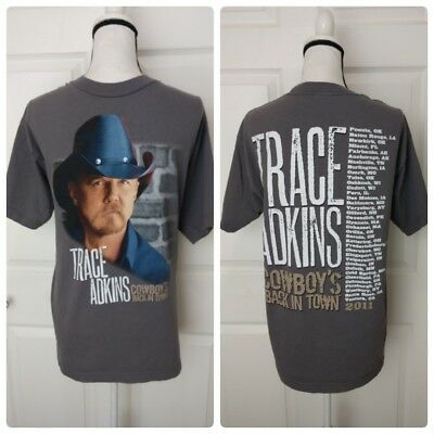 TRACE ADKINS 2011 Concert Tour Gray Shirt Size Large Country Music Western Adult