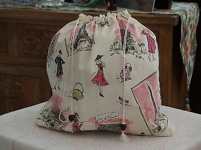 """DUSTER BAG Handmade w/""""PARIS"""" Barkcloth Fabric x Shoes/Lingerie or others, NEW"""