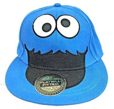 30ddfb9e3842e Sesame Street Cookie Monster Blue Embroidered Hat Fitted Baseball Cap Size  S M