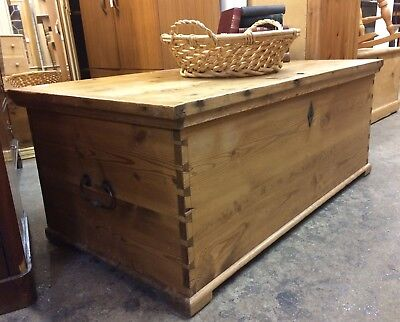 Fantastic Large Reclaimed Pine Blanket Box / Coffee Table Chest
