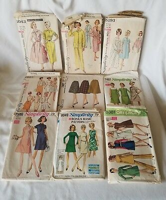LOT OF 9 VINTAGE 1960's MCCALL'S SIMPLICITY SEWING PATTERNS DRESS PAJAMA SKIRT