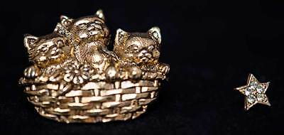 Avon Gold Cat Pin - 3 Cats in Basket + star Pin (1990)