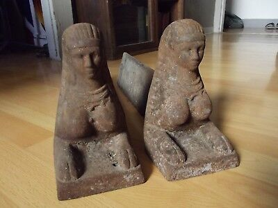 Antique 1800s Pair Egyptian Revival Nude Sphinx Andirons 1st French Empire